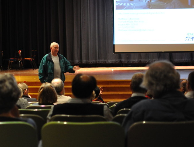 Tim speaks with residents about proposed uses for Grand Junction at a community meeting in 2011.