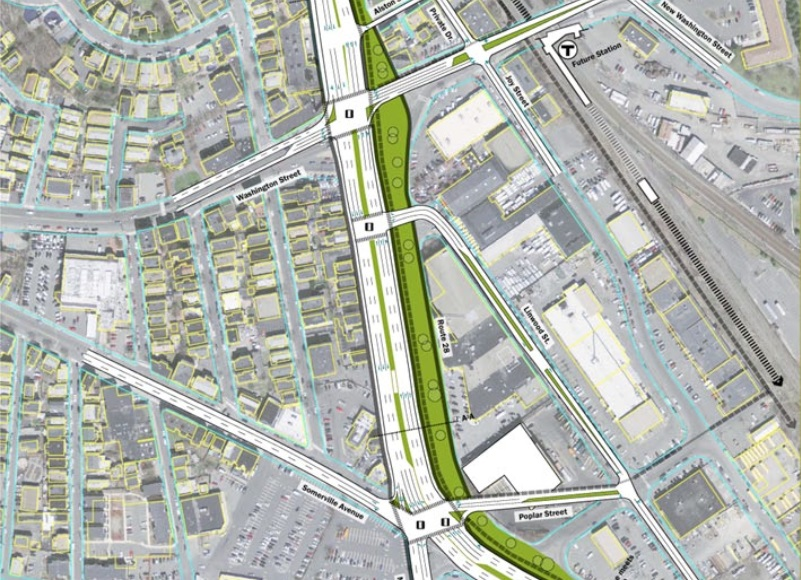 An early design from the 2013 Grounding McGrath report shows the McGrath and Washington St. intersection transformed by the removal of the McCarthy Overpass.