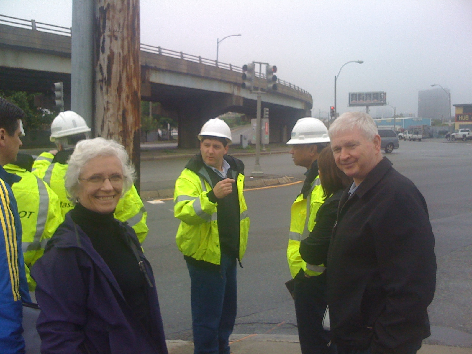 Sen. Jehlen and I with MassDOT officials at the McCarthy Overpass in 2011.
